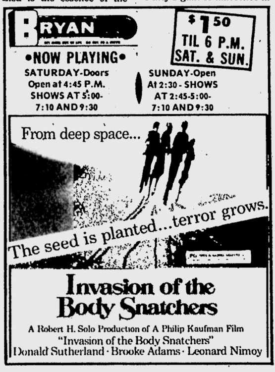invasion of the body snatchers mar 1979 bryan