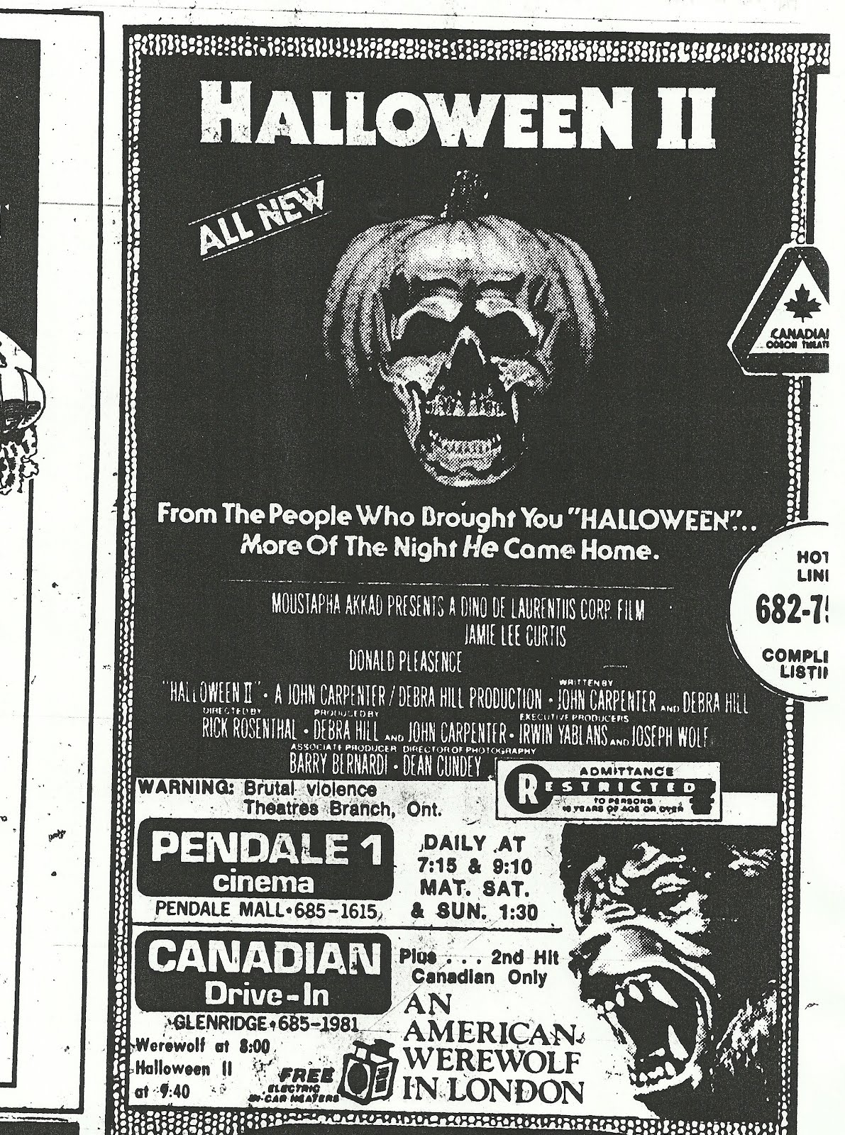 ad newspaper Halloween II 1981 Canada