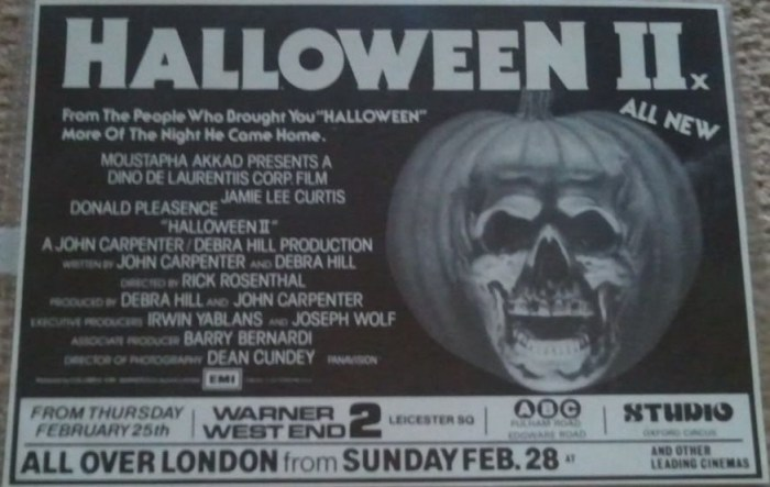ad newspaper Halloween II 1981 UK