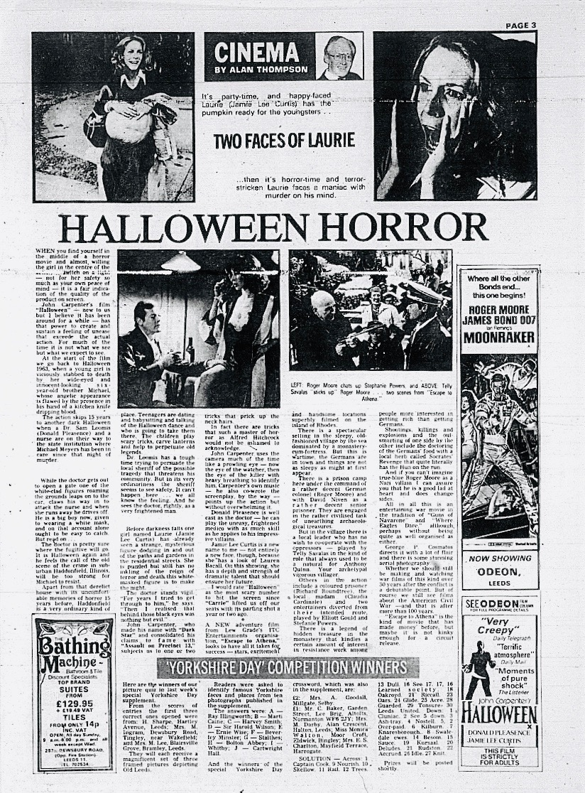 Halloween Yorkshire Evening Post Review 1978