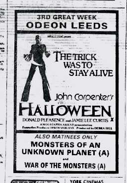 Leeds 3rd Week Halloween Movie Advert 1978